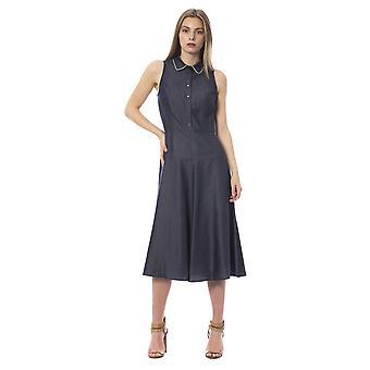 Trussardi Jeans U Indigo Denim Look Midi Dress