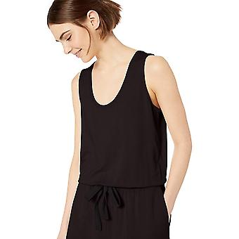 Daily Ritual Women's Supersoft Terry Sleeveless Romper, Black,Large