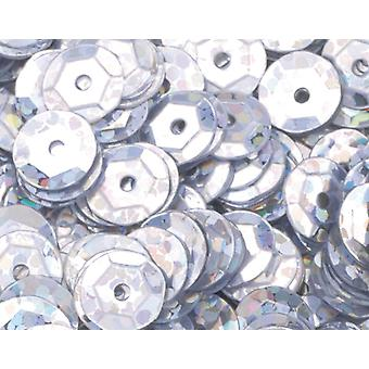 6mm Silver Holographic Round Cupped Sequins - 4000pk