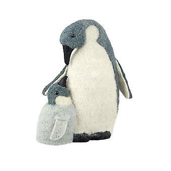 Fabric Penguin Mum And Baby Christmas Decoration