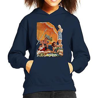 Lørdag kveld post kortspill på stranden Alex Ross Kid's Hette sweatshirt