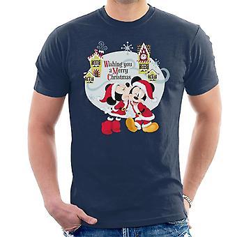 Disney Mikke Mus landsbyen Merry Christmas menn ' s T-skjorte