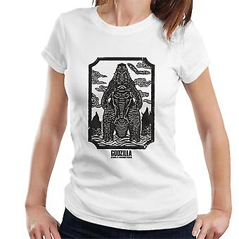 Godzilla Woodcut Design Women's T-Shirt