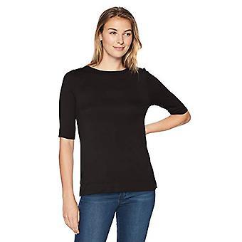 العلامة التجارية - Lark & Ro Women & apos;s الكوع-كم قارب الرقبة قميص, أسود, كبير