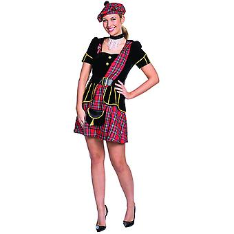 Schottin Damenkostüm Schottenrock Kariert 4tlg Karo Schottland Karneval Fasching
