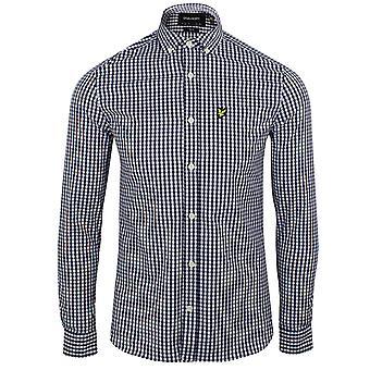 Lyle & scott men's navy and white gingham shirt