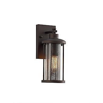 Iluminación luminosa - Lámpara de linterna de pared pequeña, 1 x E27, bronce antiguo, vidrio transparente, IP54