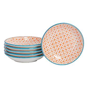 Nicola Spring 6 Piece Hand-Printed Sauce Dish Set - Small Japanese Style Porcelain Salsa Dipping Plates - Orange - 10cm