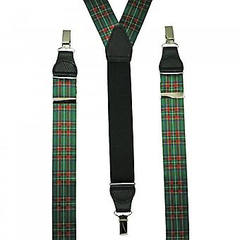 Ties Planet Green, Red, Blue & Yellow Tartan Checked Leather End Clip Trouser Braces
