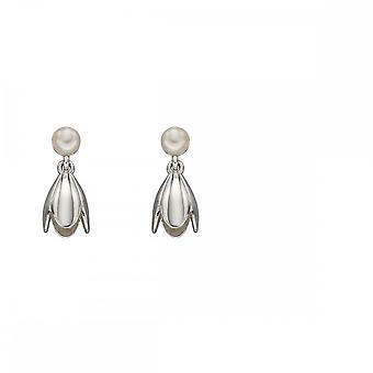 Elementos prata tulipa e brincos de pérolas E5683W