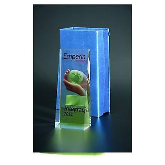 Trophée en verre avec imprimé couleur Luxorjet et boîtier