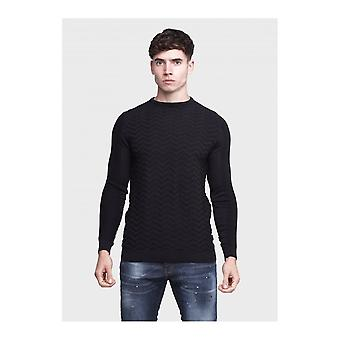 883 Police Stormy Cotton Ribbed Navy Knitwear Jumper