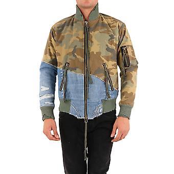 Greg Lauren Am262greencamo Men's Camouflage Cotton Outerwear Jacket