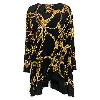 Women With Control Women's Top Reversibles 3/4 Sleeve Tunic Black A344076