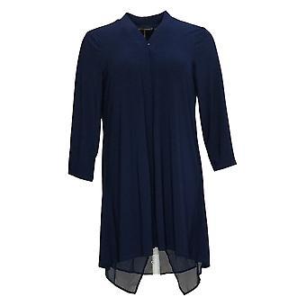 Nina Leonard Women's Sweater Cardigan W/ Zipper & Chiffon Blue 703-537