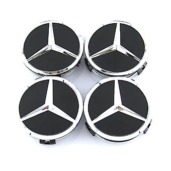 Black/Silver Mercedes Benz Wheel Center Caps Hub Badges 60mm 4 PCS For W202 W203 W204 W208 W210 W220 W221