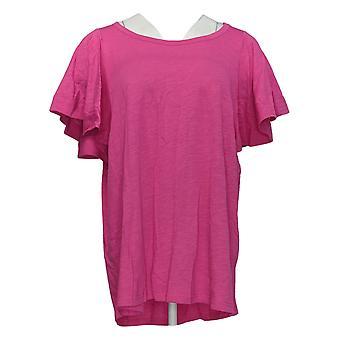 DG2 de Diane Gilman Women's Plus Top Pink Tunic Flutter Sleeve 718-519
