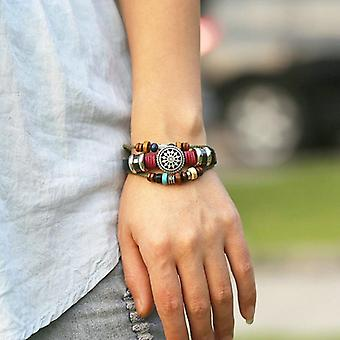 Vintage Leather Wax Rope Bangle Bracelet Sunflower Multilayer Bracelet For Men