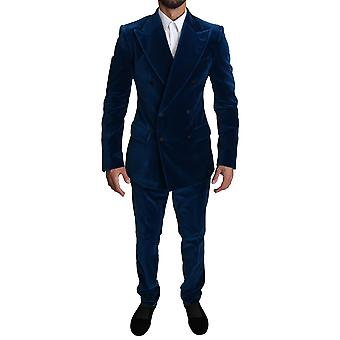 Blue velvet double breasted 2 piece suit