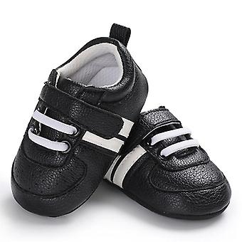 Newborn Two Striped First Walkers, Pu Leather Soft Soles Sneakers