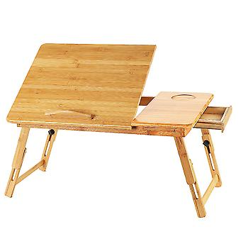 Homemiyn Tablet Computer Table Adjustable Solid Wood Folding Bed Table Space Saving Sturdy And Easy To Assemble