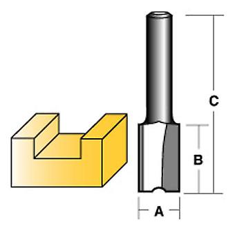 "Carbitool Straight Router Bit 10Mm Long 1/4"" Shank"
