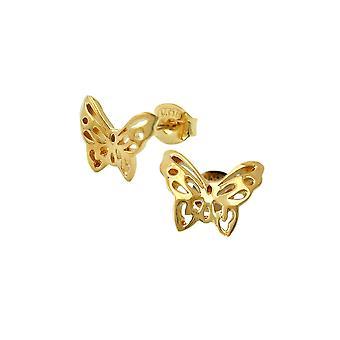 Stud Earrings Butterflies 3 Micron Gold Plating