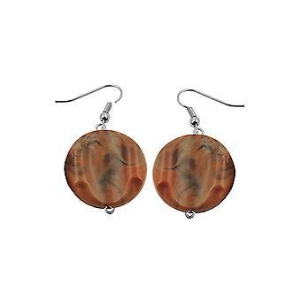 Hook Earrings Marbled Beads Brown