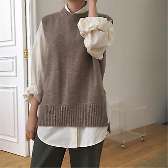 Vest O-neck Sleeveless Pullover Knitted Vest Office Lady Temperament Casual