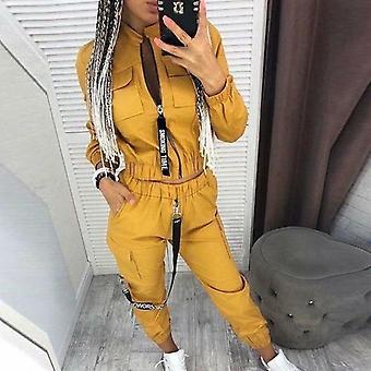 Donna Autunno Cerniera V Collo Top e Pantaloni Lunghi Completi