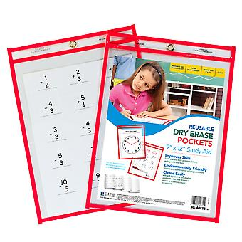 "C-Line Reusable Dry Erase Pocket, Red Neon, 9"" X 12"", 1/Pkg"