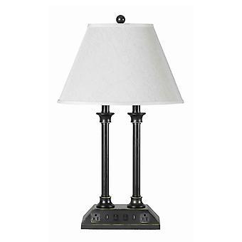 Lampe de bureau en métal de 60 x 2 watts avec ombre de tissu et docks d'usb, blanc et noir