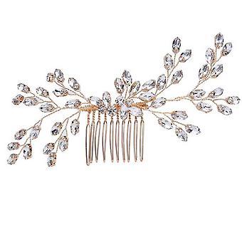 Peigne de cheveux de strass d'or de mariage de mariée avec les peignes nuptials en cristal