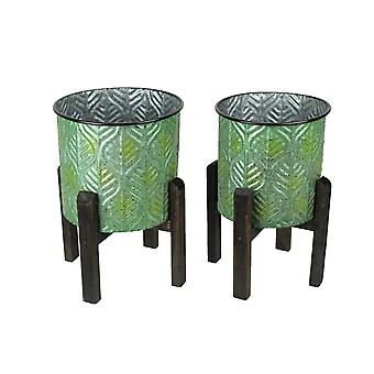 Set of 2 Green Leaf Pattern Stamped Metal Planters With Wooden Stands