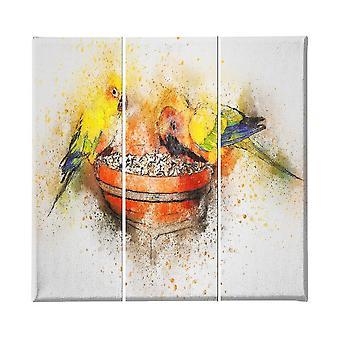 Veelkleurige Papegaai schilderij in polyester, hout, L23xP3xA50 cm (3 stuks)
