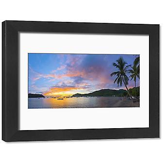 Karibia, Martinique, Les Anse d' Arlet, Grand Ansen ranta. Suuri kehystetty valokuva. Karibia.