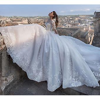 Apliques manga larga con cuentas A-line vestido de novia, cuello redondo, encaje, vintage