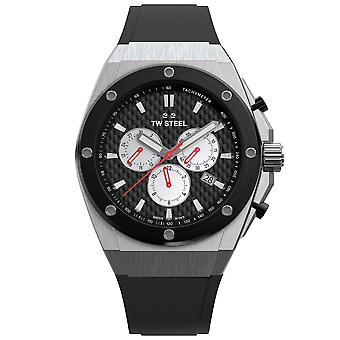 TW Steel Ce4049 Ceo Tech Solberg Silver & Black Silicone Strap Chronograph Mens Watch