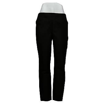 Susan Graver Leggings Regular Ponte Knit Faux Leather Trim Black A387782