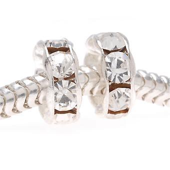 Silverpläterade tjeckiska kristall stora hål Rondelle pärlor - europeisk stil 8mm (2)