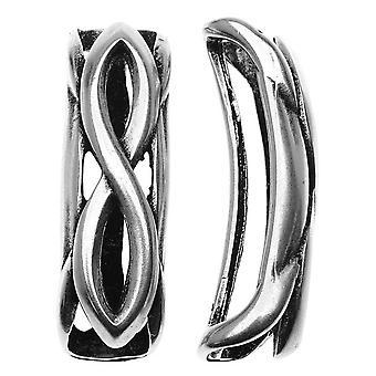 Antiqued Silver Infinity Symbol Bracelet Slider For Regaliz 10mm Rubber Cord - 1 Piece