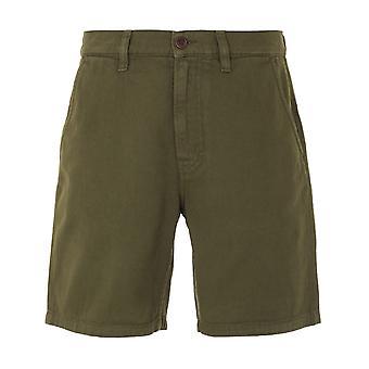 Nudie Jeans Co Luke Rigid Twill Worker Shorts - Army Green
