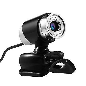480P webkamera USB manuell fokus stasjonsfritt datakamera med 3,5 mm lydplugg for pc bærbar PC svart