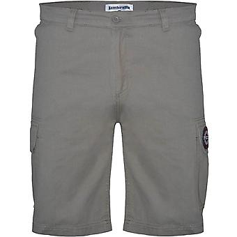 Lambretta Mens Classic Mod Summer Multi Pocket Cargo Pants Shorts - Grey