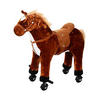 HOMCOM Plush Walking Horse Ride On Toy with Wheels and Realistic Sounds Rocking Horse for Girls Boys, 50cm Tall, Brown