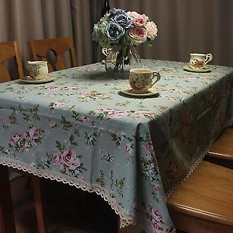 70cm Table Cloth Pastoral Rose Table Cover Thick Dustproof Store Home Decorative tablecloth(Green)