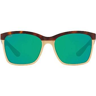 Costa Del Mar Womens Anaa Polarized Rectangular Sunglasses - Retro Tortoise/Cream/Mint/Green Mirrored - 55 mm