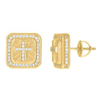 925 Sterling Silver Yellow tone Mens Cubic zirconia Square Cross Religious Stud Earrings Jewelry Gifts for Men