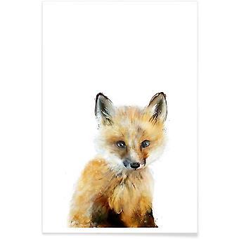 JUNIQE Print - Little Fox - Foxes Affisch i brunt & gult