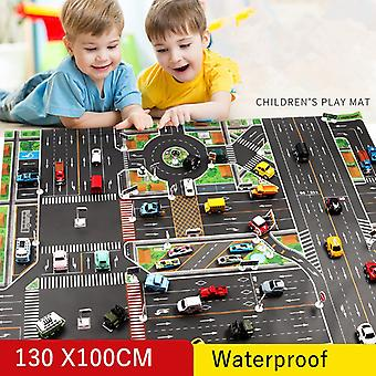 Kids Play Mat City Road Building Parking Map Waterproof Carpet With Traffic Sign